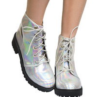 HOLOGRAPHIC CUTOUT BOOTIES