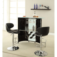 Black White Curved Home Bar with Wine Storage
