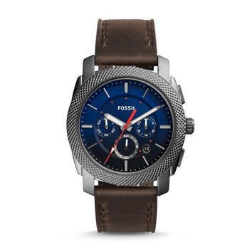 Machine Chronograph Gray Leather Watch