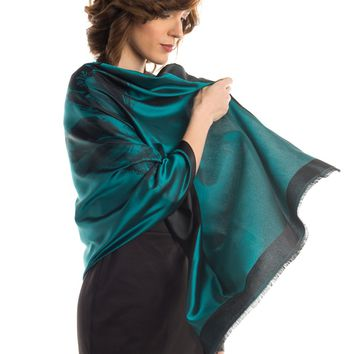 Fortuna-Double Face Silk Organzino Tulip Evening Shawl-Emerald
