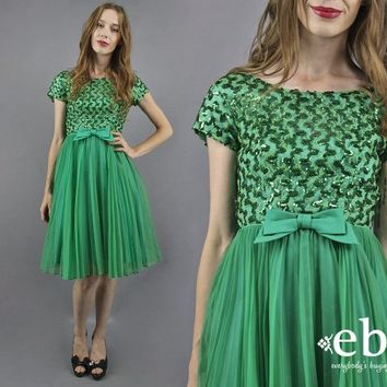 50s Party Dress 50s Dress 1950s Dress 1950s Prom Dress 50s Cocktail Dress Green Sequin Dress Bow Dress Tulle Dress Poison Ivy Costume S