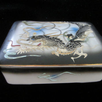Oriental Hand Painted Porcelain Covered Box Decorated Majolica Dragon