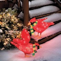 Lighted Cardinals Set/2 - Holiday Decor - Home & Garden