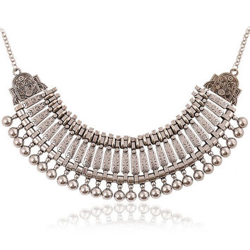 Coin Stylish Collar Chain Tribal Retro Antique Silver Alloy Bib Choker Necklace