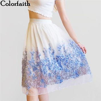 2017 New Puff Women Organza Tulle Skirt White faldas High waist Midi Appliques Floral Sakter Skirt Female Tutu Skirts SP022