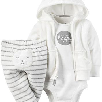 Baby Boys' 3 Piece Terry Cardigan Set (Baby)