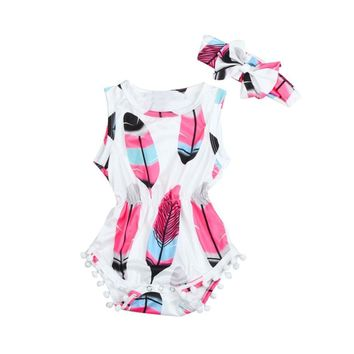 Baby Girls Sleeveless Feather Print Onsie & Headband