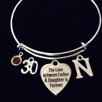 Father Daughter Forever Birthstone 30 Expandable Charm Bracelet Silver Adjustable Bangle Gift