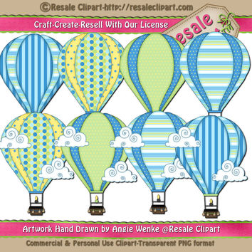 Blue/Yellow Hot Air Balloons Digital Instant Download Clip Art