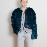 Lust for Life Blue Fur Crop Jacket by Oh My Love