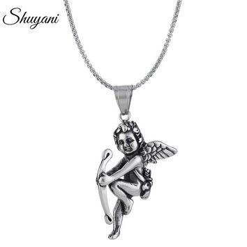 Shuyani 2018 Stainless Steel Angel Pendant Necklace Vintage Punk Metal Pendant Necklace Jewelry For Man Women