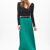 FOREVER 21 Accordion Pleated Skirt Pepper Green