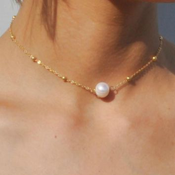Genuine Pearl Choker Necklace Fashion Gold Color Chain with Freshwater Pearl Necklace for Women Jewelry 171127