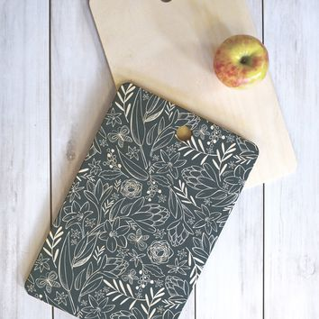Heather Dutton Botanical Sketchbook Midnight Cutting Board Rectangle