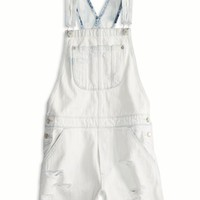 AEO Women's Destroyed Denim Shortall (Light Destroy Wash)