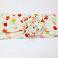 Baby Rose Knot Tied Headband-Toddler Knot Headband-Polka Dot Knot Headband-Baby Headwrap