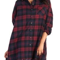 Oversized Plaid Shirt - Red