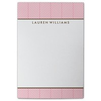 Personalized Pink Herringbone Pattern Post-it® Notes
