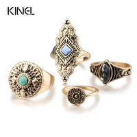 Fashion Dubai Gold Color  Midi Rings For Women  4Pcs/Sets Mixed Size Knuckle Ring Vintage Jewelry