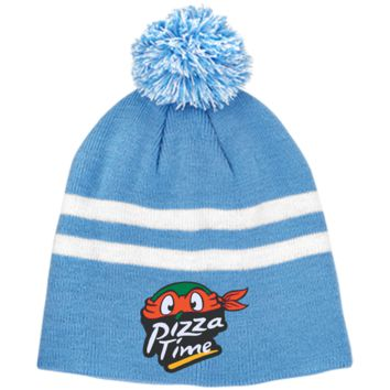 Pizza Time TT122 Team 365 Striped Pom Beanie