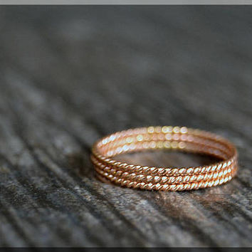 Set of 3 Ultra Thin 14k Rose Gold Filled Stacking Ring, Twisted 14k Rose gold filled ring, Delicate gold filled ring, Dainty stacking ring