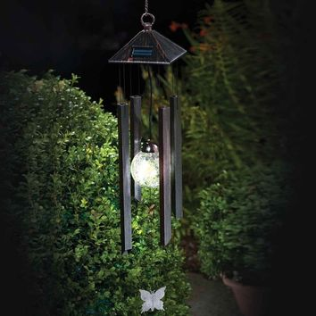 New Arrivals Hanging Wind Chimes Solar Powered Colour Changing LED Light Garden Windchimes Garden Yard Decoration Fashion Solar