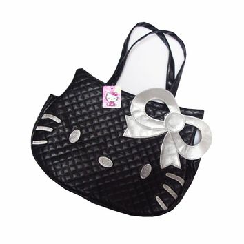 Women's Handbag PU Material Hello Kitty Cute Travel Organizer Bag Bow Lady's Shoulder Pouch Girl's Accessories Supplies Products