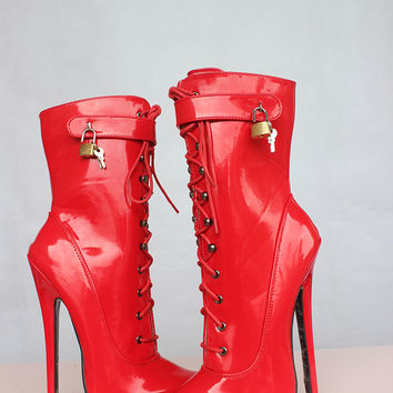 Hot Extreme high heel 18cm Stiletto Heel y fetish ankle boots buckles LACE UP red patent ANKLE Boots with padlock Alternative Measures