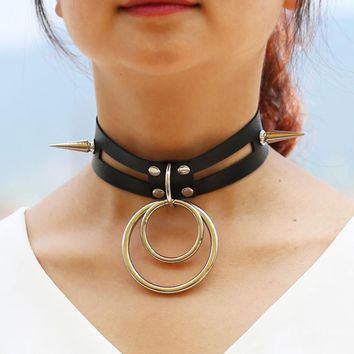 DIEZI Harajuku Vintage Bohemia Silver Rivet Round Choker Necklaces Goth Statement Collar Necklace Women Harness Anime Jewelry