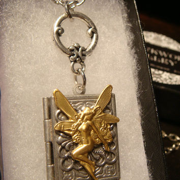 Victorian Style Fairy Book Locket Necklace in Antique Silver (1865)
