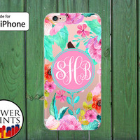 Pastel Poppies Vintage Flower Cursive Monogram Clear Rubber Case for iPhone 5/5s and 5c and iPhone 6 and 6 Plus + and iPhone 6s iPhone SE