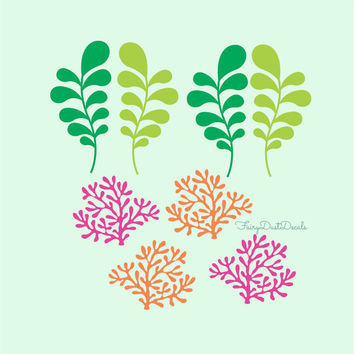 Coral and Seaweed wall decals 4 of each from