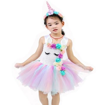 Girls Unicorn Rainbow Flowers Tutu Dresses With Cotton Lining Headband Horn Hair Hoop Set for Kids Birthday Theme Party Vestido