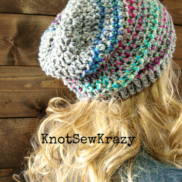 Crochet Ribbed Brim Slouchy Slouch Crochet Beanie Hipster Hat - TOFINO - Ooak GREY RAINBOW