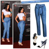High Rise Waistband Plus Size Pants Jeans [11597543823]