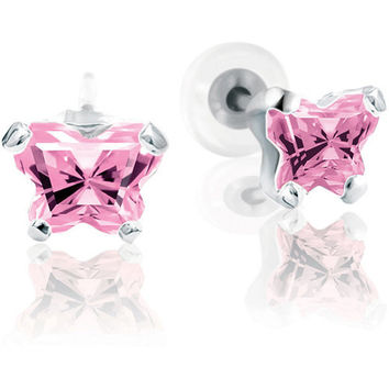10K White Gold October CZ Birthstone Youth Earrings by Bfly