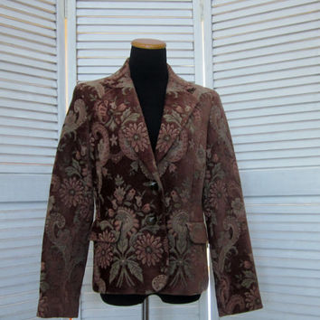 Vintage Light Brown Tapestry Coat Jacket Lined Bohemian Jacket Velvet Chenille Tapestry Print Upholstery Fabric Kasper Womens 10