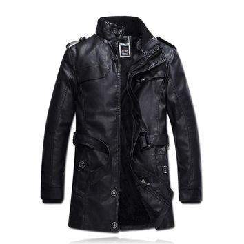 Men PU Leather Jacket Winter Snow Warm Fleece Casual Motorcycle Coats Male Brand Slim Fit Trench Coats Jaqueta De Couro