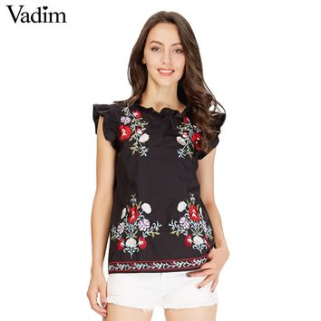 Vadim Women's Sweet Ruffles Floral Embroidery Shirt Sleeveless Black Vintage Blouse Ladies Casual