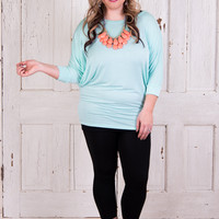 Curvy| Comfy Girl 3/4 Sleeve - Mint