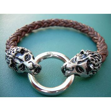 Lions Head Braided Leather Bracelet, Light Antique Brown,  Mens Bracelet, Mens Jewelry, Mens Gift