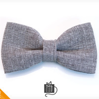 "Pet Bow Tie - ""Connery"" - Gray Suiting Style Detachable Bowtie for Cats + Dogs"