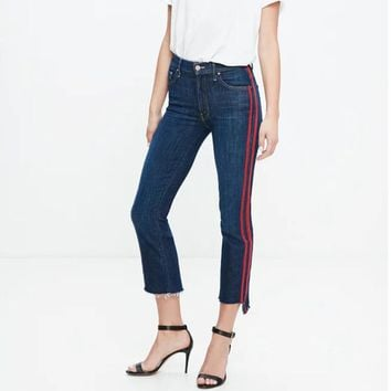 Women High Waist Flare Ankle Length Jeans Preppy High Waist Side Striped Jeans with Stepped Hem Cropped Jeans Deinm Pants