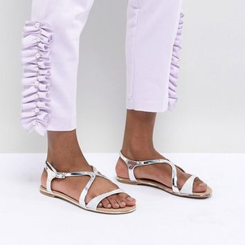 Call It Spring Silver Flat Sandals at asos.com