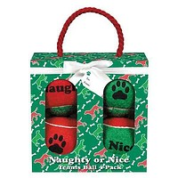 Grriggles Naughty or Nice Tennis Ball Dog Toy Gift Pack