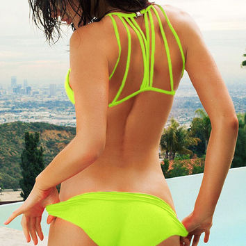 Neon Green Back Triangle Bikini