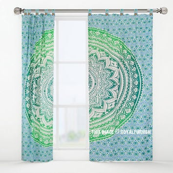 See Green Chroma Ombre Medallion Tapestry Curtain Panel Pair on RoyalFurnish.com