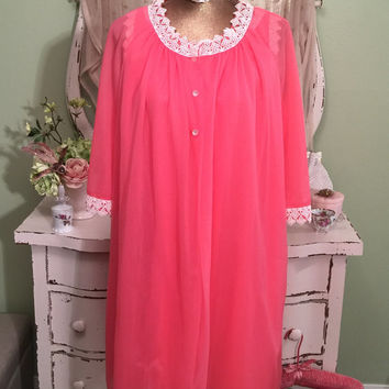 Large 60s Hot Pink Robe Set, Chiffon Nightgown Set, 1960s Lingerie, Vintage Nightgown Sets, Full Mid Length, Night Nightdress Set, Large
