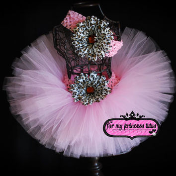 Light Pink Cheetah Tutu with Headband - newborn tutu, baby tutu, infant tutu, girl tutu, toddler tutu, dance tutu, birthday tutu, TUTU