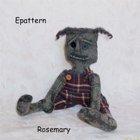 primitive doll pattern, epattern, doll pattern, white doll pattern, OOAK personally designed, Rosemary - 320
